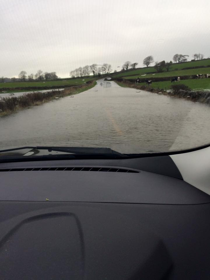 Floods in Warton, near Lancaster. Pic copyright of and published with kind permission of Fiona Gallagher.