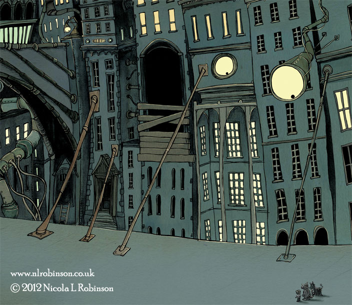 Downtown illustration © Nicola L Robinson All rights reserved www.nlrobinson.co.uk