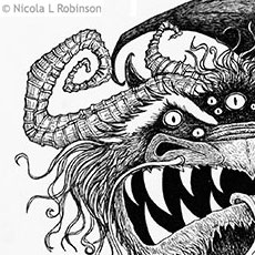 Pen and Ink Monster © Nicola L Robinson