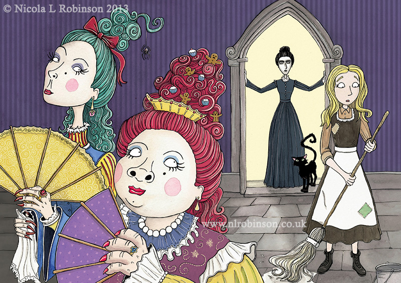 Cinderella and ugly sisters illustration © Nicola L Robinson all rights reserved. www.nlrobinson.co.uk