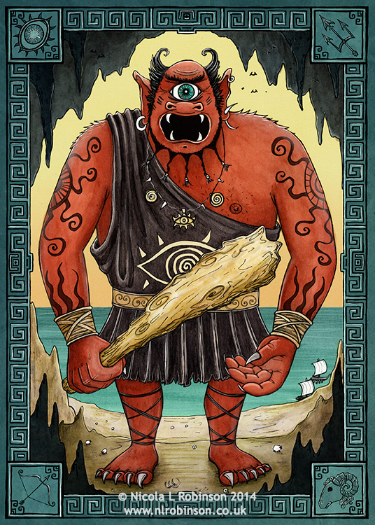 Polyphemus the cyclops greek myths illustration © Nicola L Robinson All rights reserved. www.nlrobinson.co.uk