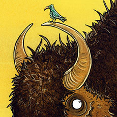 Bison Riding Children's Illustration © Nicola L Robinson