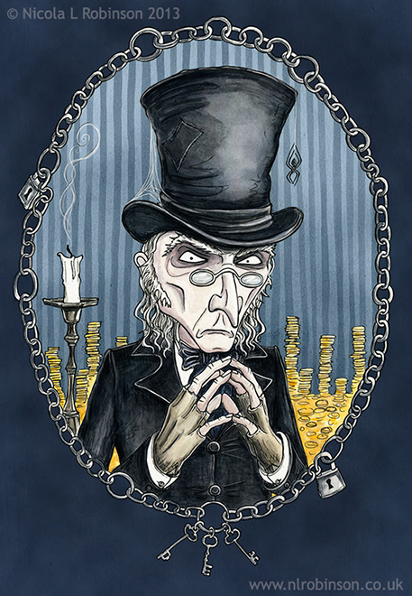 Scrooge Illustration Charles Dickens A Christmas Carol © Nicola L Robinson All rights reserved. www.nlrobinson.co.uk
