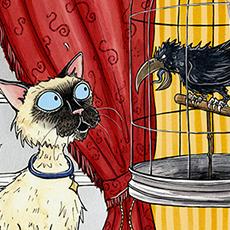 Siamese Cats Animal Illustration © Nicola L Robinson