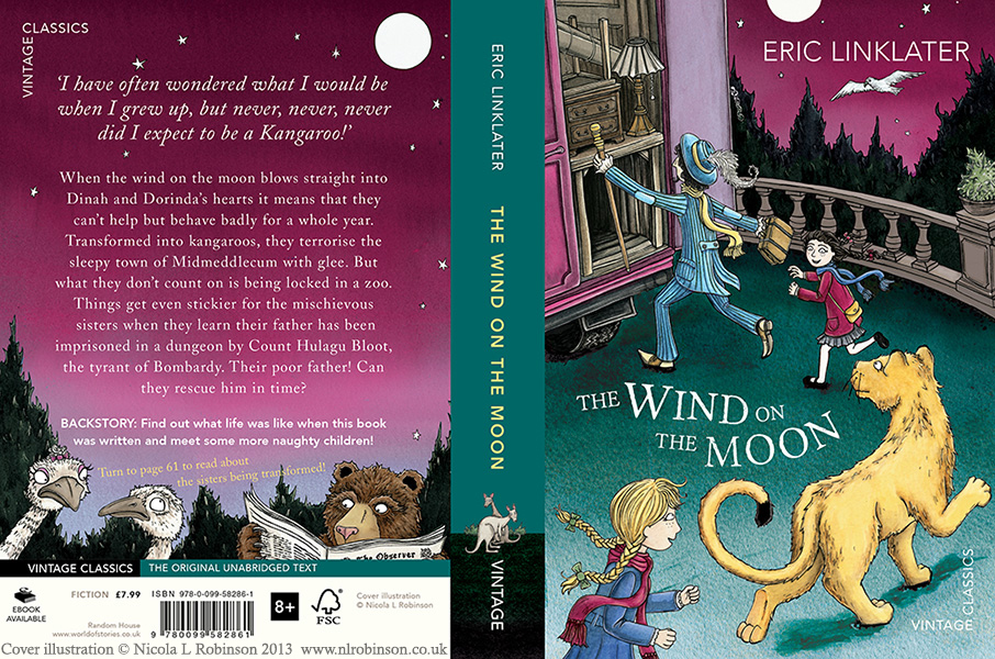 The Wind on the moon by Eric Linklater cover illustration © Nicola L Robinson