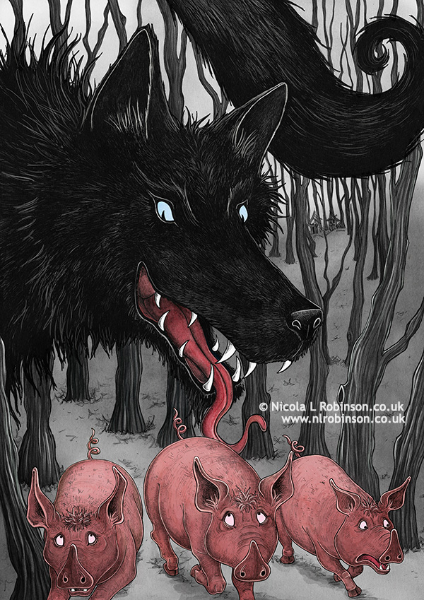 The three little pigs and the big bad wolf illustration © Nicola L Robinson. All rights reserved. www.nlrobinson.co.uk