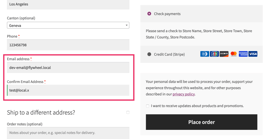 The WooCommerce checkout page with the Confirm Email Address field shown along the regular Email address field.