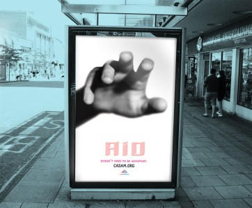 Advertising awareness campaign on a bus stop.