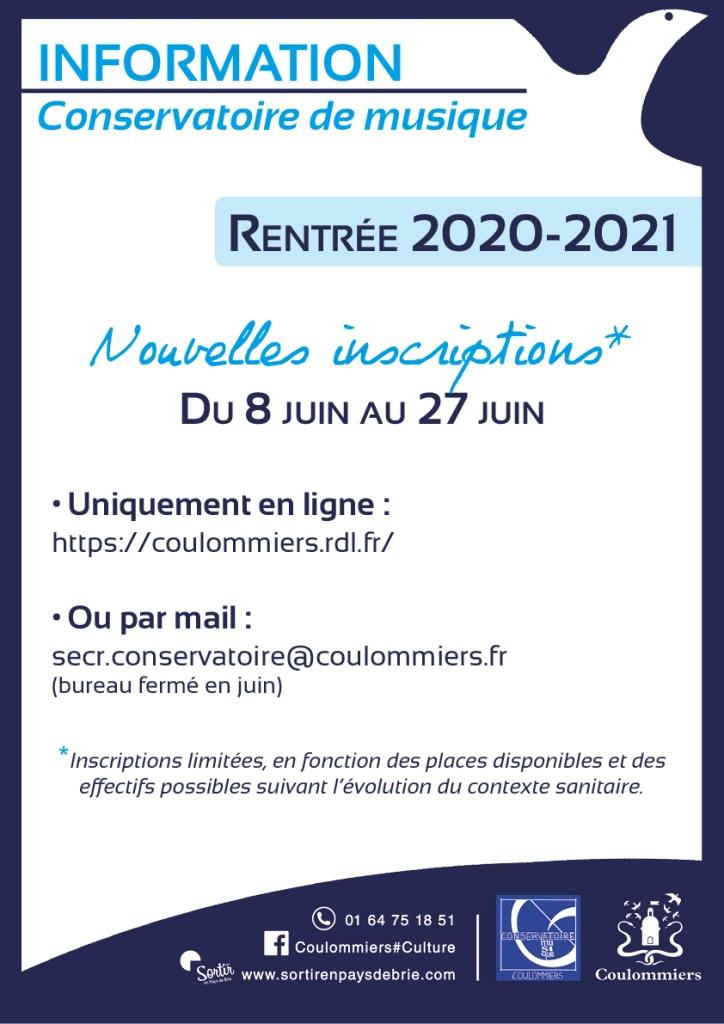 Inscriptions 2020-2021 au Conservatoire de Coulommiers