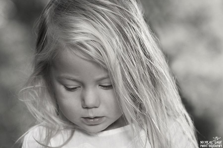 black and white children photography in Los Angeles of young girl