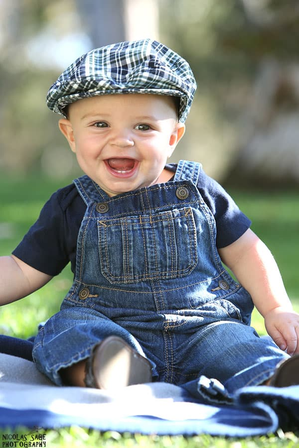 smiling baby portrait in a West Los Angeles park