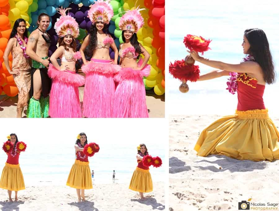 polynesian dancers at malibu beach birthday party