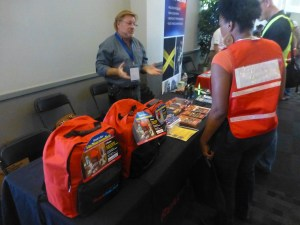 A vendor of pre-packed emergency backpacks