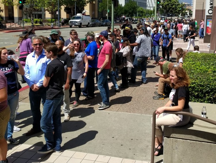 A small part of the line for the Bernie rally in Oakland on 5/31/16