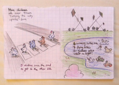 "sketch for ""Chasing Chickens"" 3"