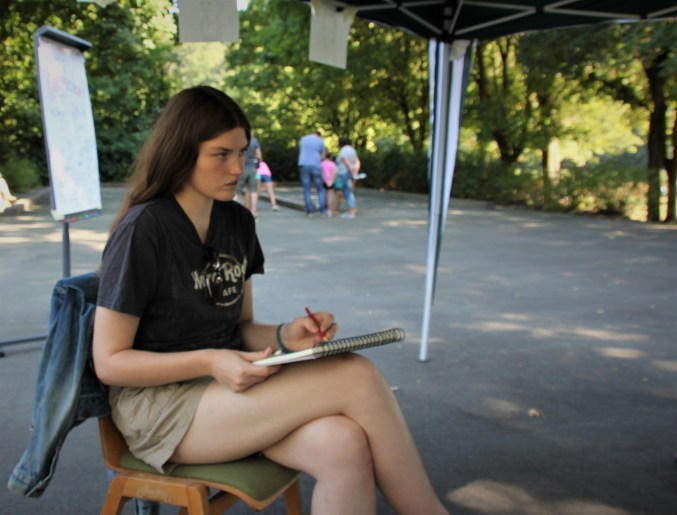 Caricatures at a kid's festival