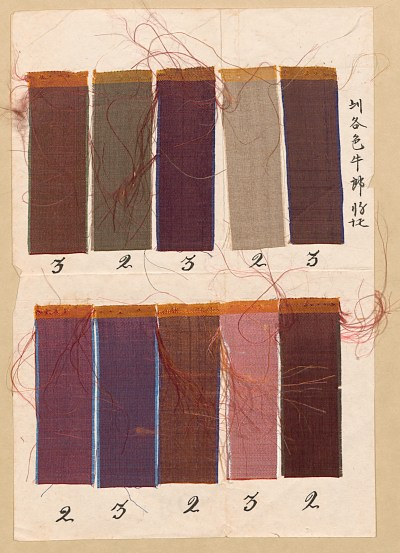 Silk samples associated with a bill of lading signed by John Latimer, 60x27, Col. 235, Downs Collections of Manuscripts and Printed Ephemera, Winterthur Library