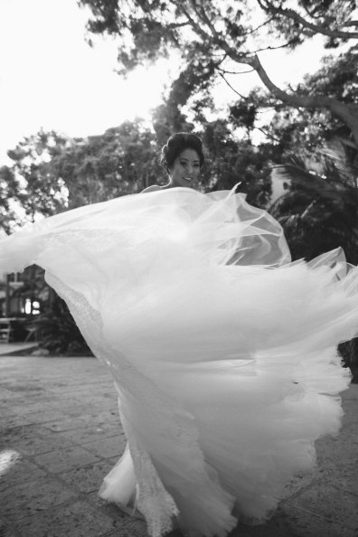 bride in gown wedding ritz carlton laguna niguel