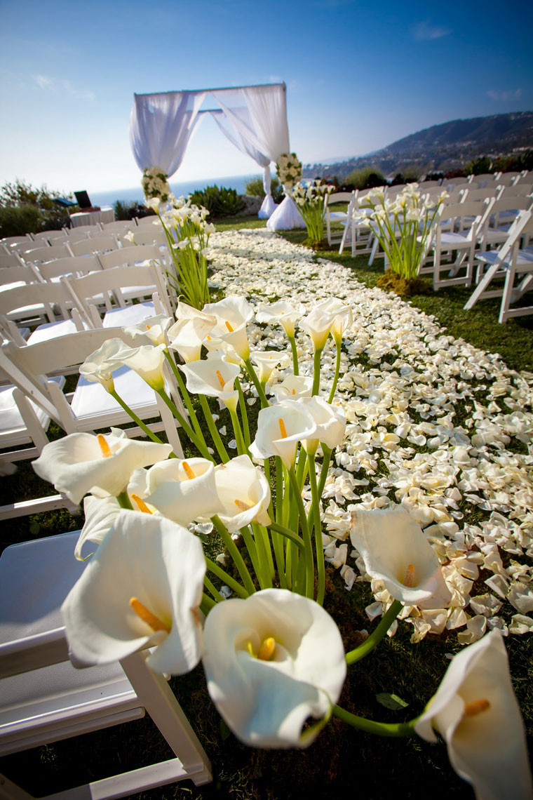 flowers wedding ceremony aisle ritz carlton laguna niguel