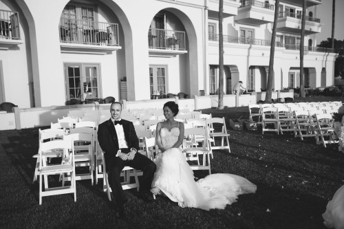 bride and groom at wedding ceremony site laguna niguel ritz carlton