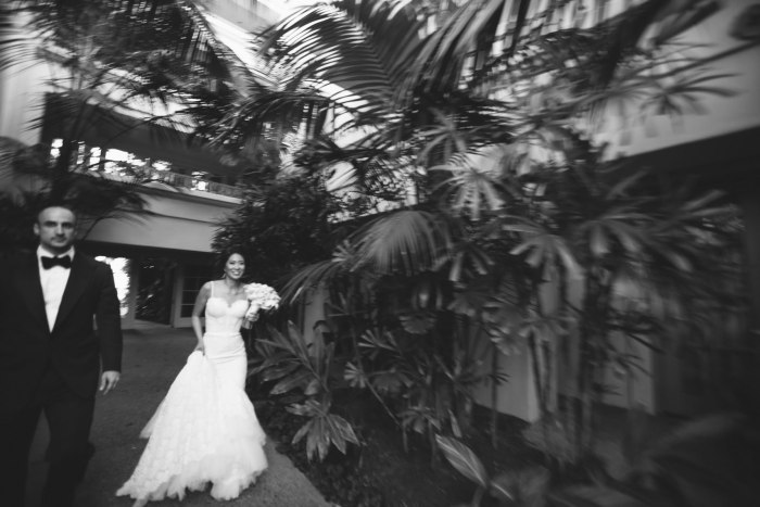 bride and groom walking ritz carlton laguna niguel