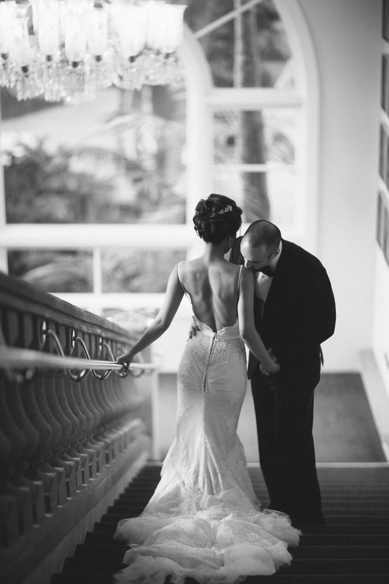 ritz carlton laguna niguel wedding back of bride on staircase