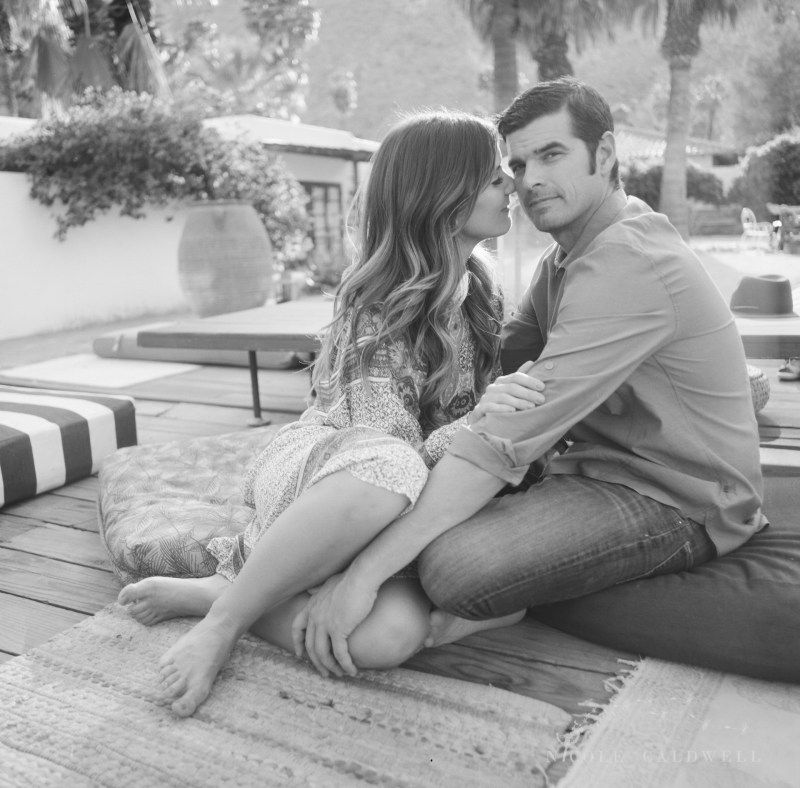 engagement session Korakia Pensione in Palm Springs  by Nicole Caldwell film photographer film black and white