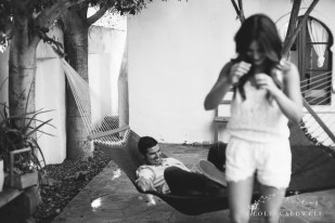 engagement session Korakia Pensione in Palm Springs by Nicole Caldwell film photographer hammock