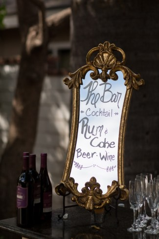 French estate wedding photographer orange details drink menu