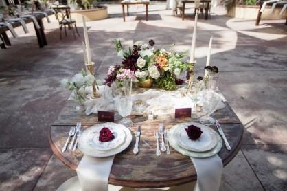 French estate wedding photographer orange details table rustic