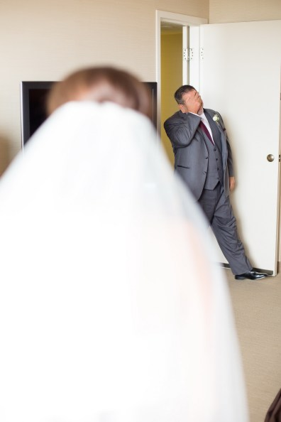 French Estate wedding photographer orange father of bride sees her first time