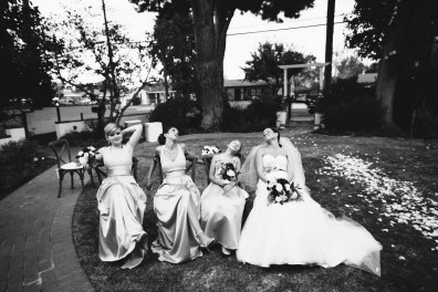 French Estate wedding photographer orange bridesmaids
