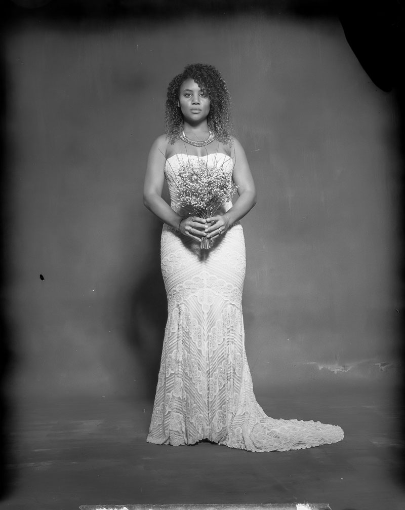 new 55 film bride with flowers