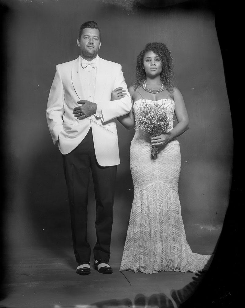new 55 film bride and groom formal portrait