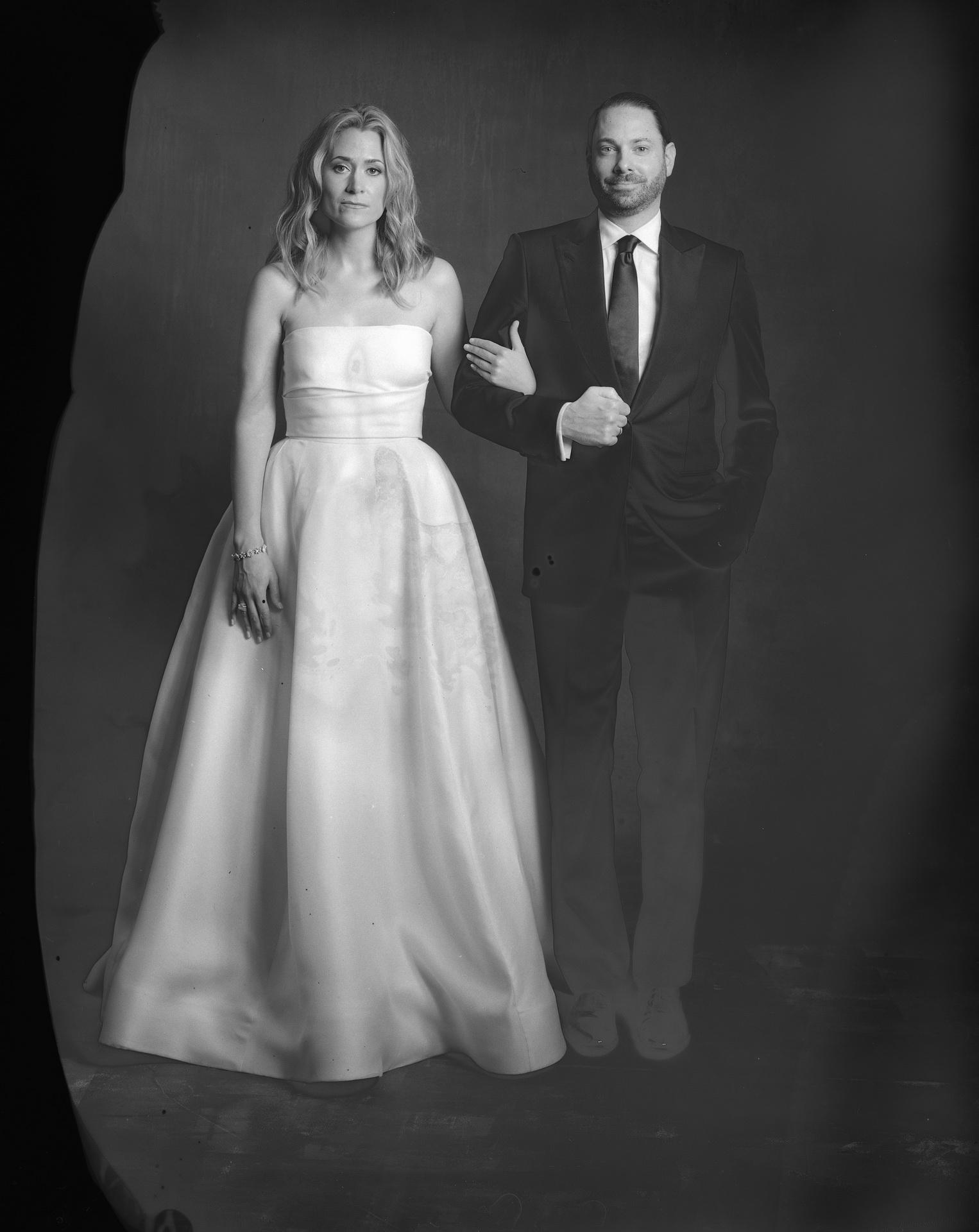 new 55 film bride and groom in the studio orange county
