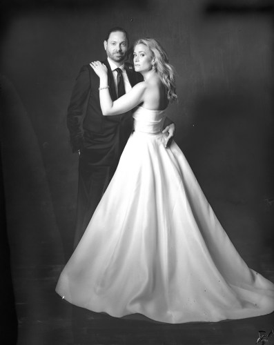 bride and groom in photostudio new 55 film