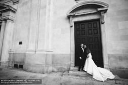 wedding vibiana bride and groom exterior