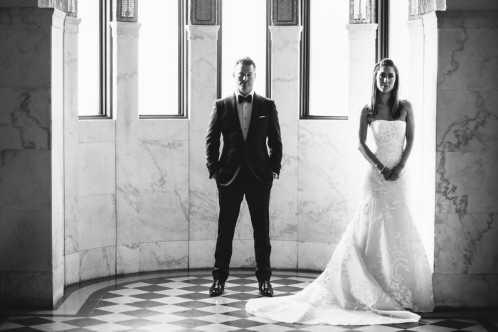 wedding vibiana bride and groom