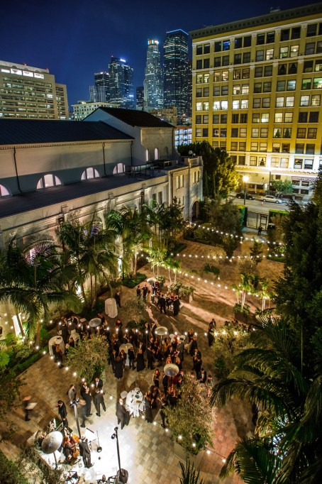 vibiana wedding cocktail hour view downtown los angeles