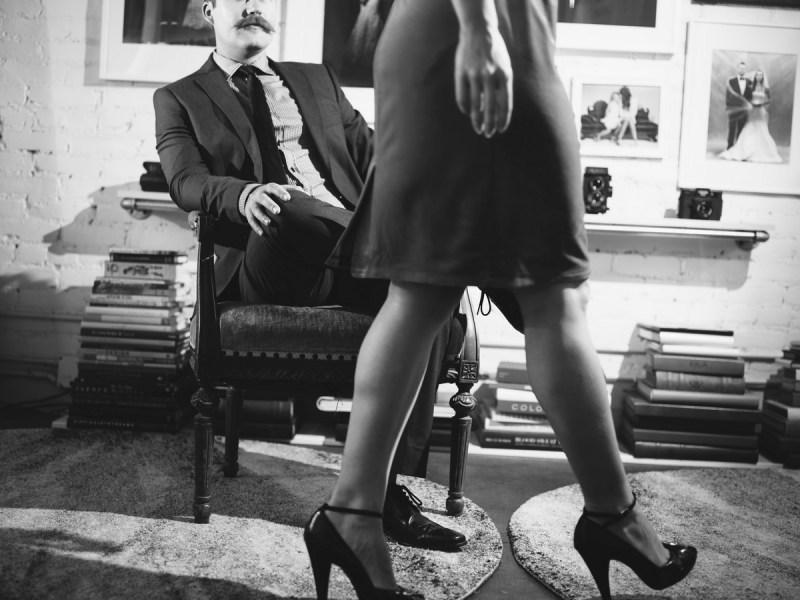 film noir engagement session photo by nicole caldwell studio 14