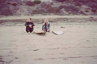 laguna beach surf couple engagement photos on beach film