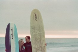 laguna beach surf couple engagement photos on beach film