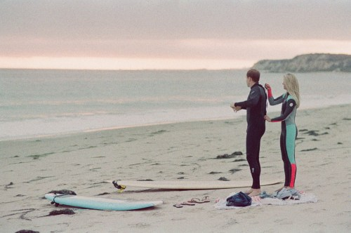 orange county wedding film photographer surf couple