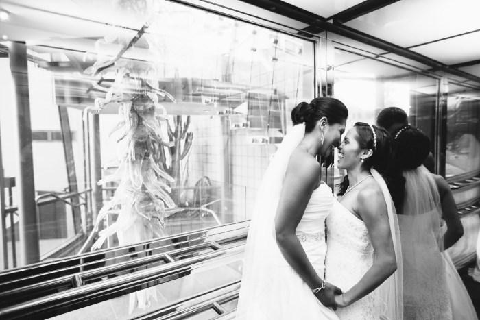 brides in elevator laguna beach 7 degrees wedding