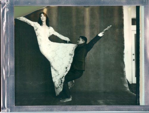yoga couple wedding 8 x 10 polaroid impossible project film