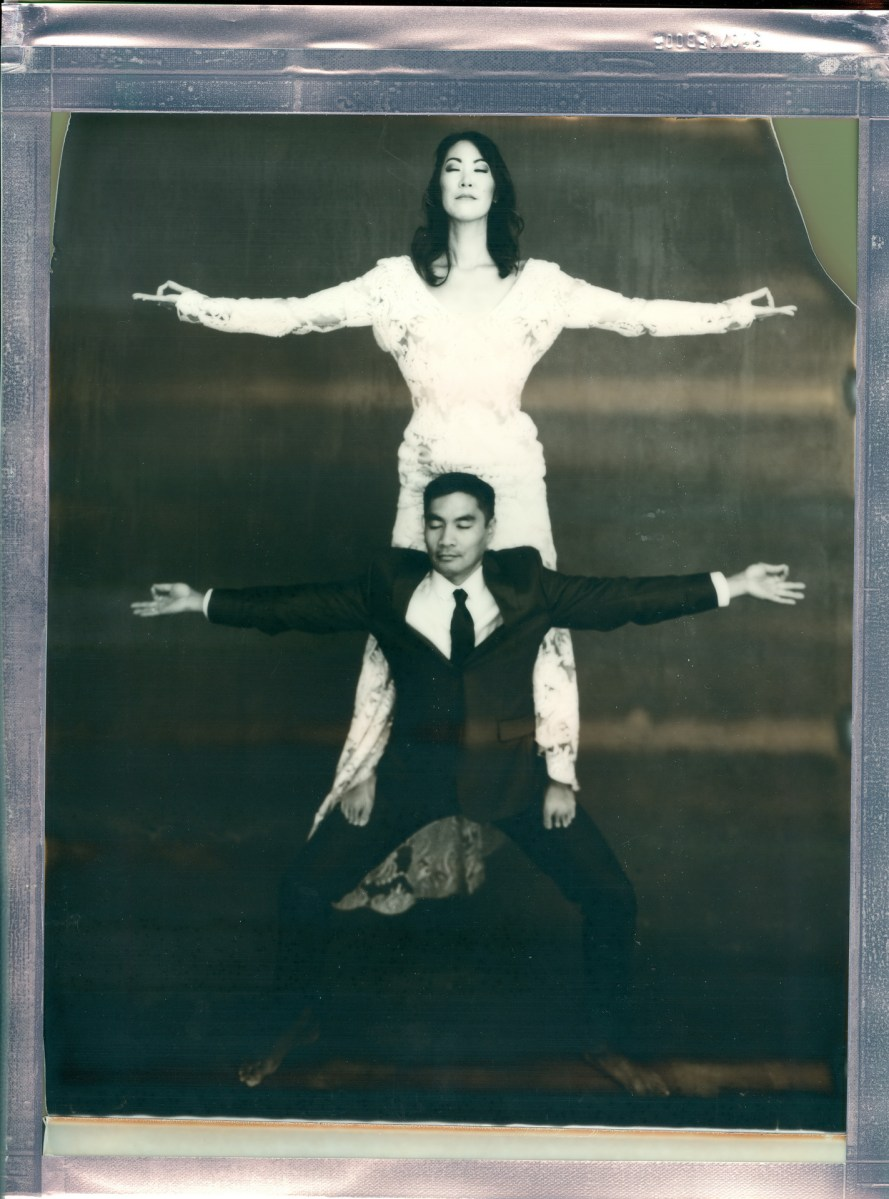 wedding yoga couple 8 x 10 polaroid impossible project film