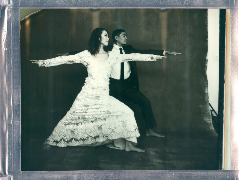 yoga couple wedding polaroid 8 x 10 impossible project photo by Nicole Caldwell 06