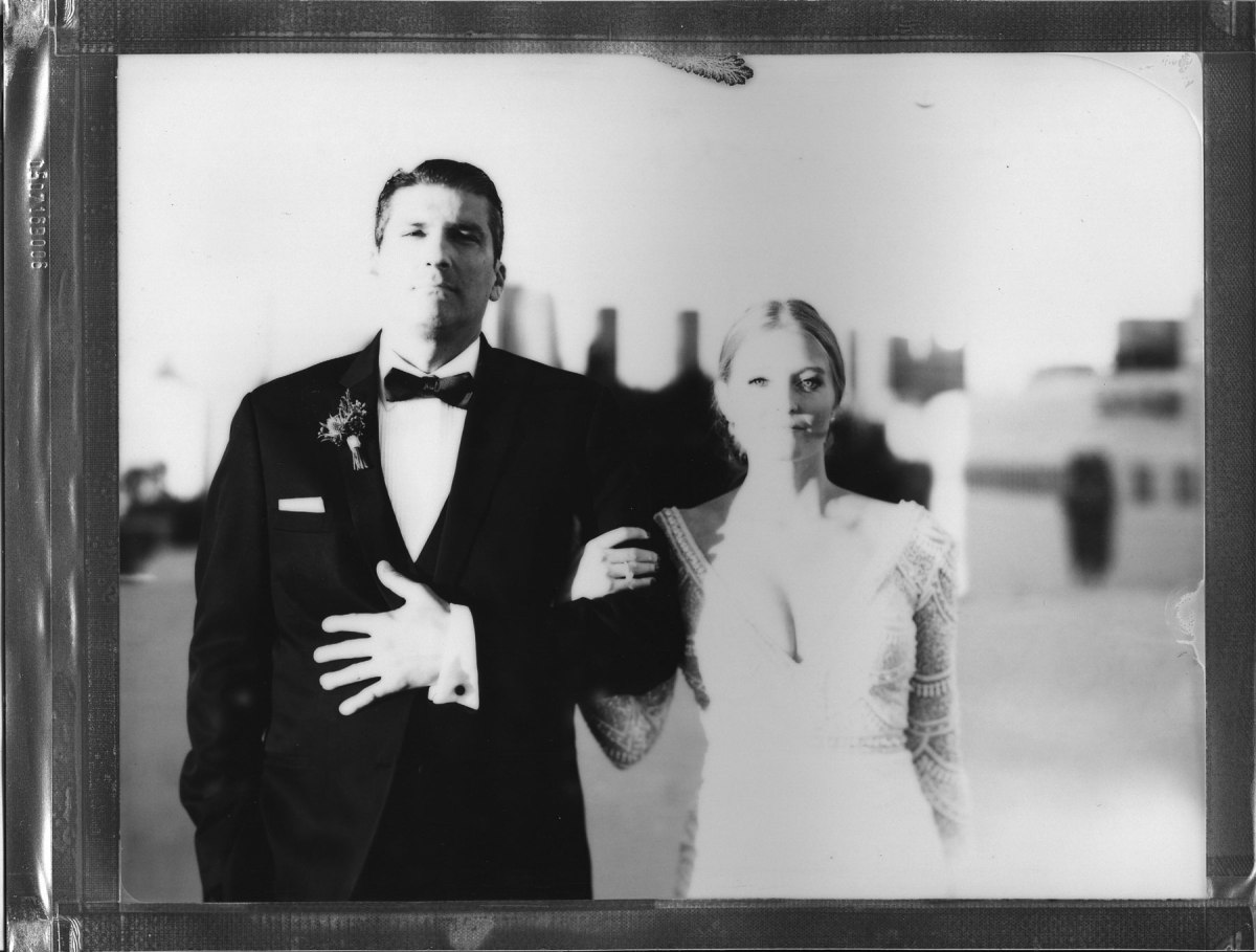 carondolet wedding 8 x 10 film polaroid impossible project bride and groom