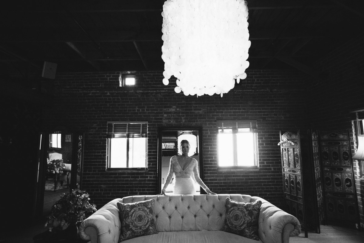 bride in bridal room at carondelet house los angeles wedding