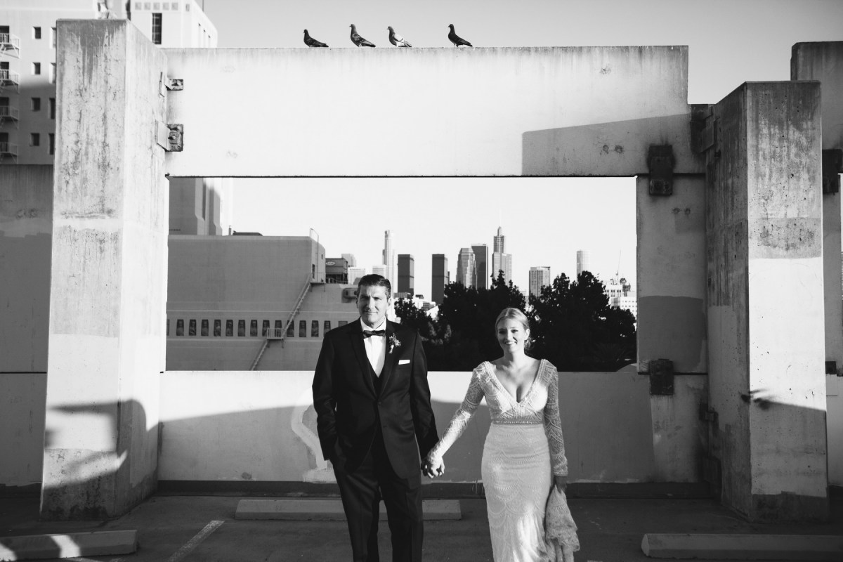 carondelet house bride and groom photo parking lot